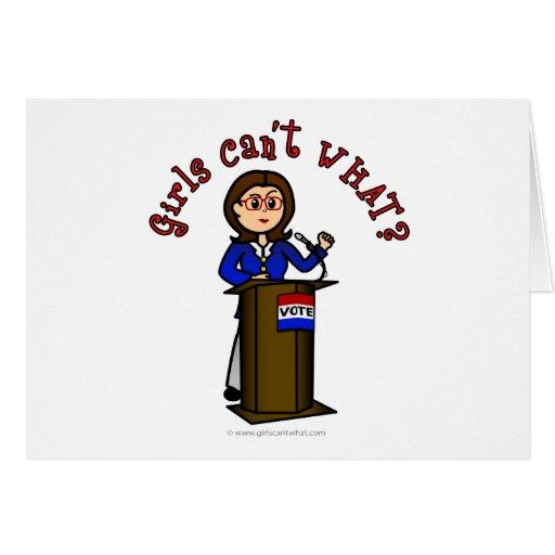 Light Politician Girl Greeting Card