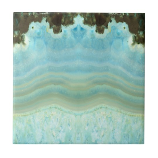 Light Powder Blue Agate Geode Crystal Pattern Tile