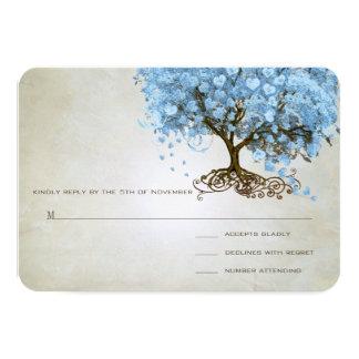 Light Powder Blue Heart Leaf Tree Wedding RSVP 9 Cm X 13 Cm Invitation Card