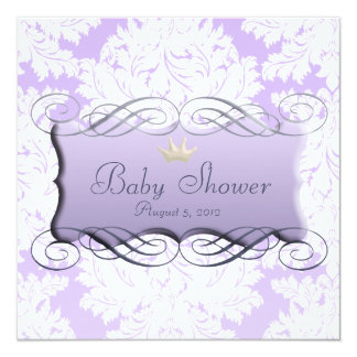 Light Purple Damask Darling Purple Frame Beveled Personalized Announcements