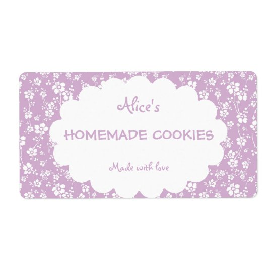Light Purple Floral Personalised Homemade Cookies Shipping Label