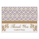 Light Purple Gold Moroccan Thank You Wedding Card
