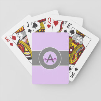 Light Purple Gray Monogram Personalized Playing Cards