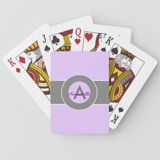 Light Purple Grey Monogram Personalised Playing Cards
