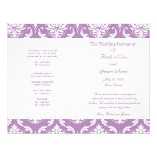 Light Purple Vintage Damask Wedding Program Full Color Flyer