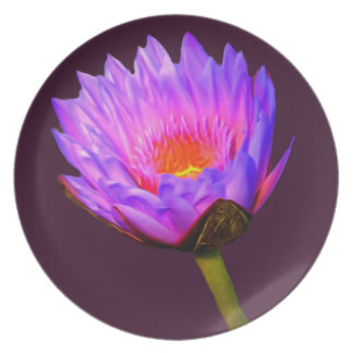 Light Purple Water Lily Party Plate