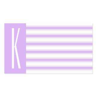Light Purple & White Horizontal Stripes Pack Of Standard Business Cards