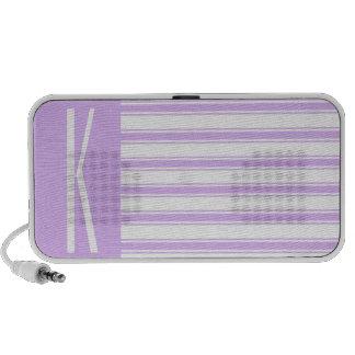 Light Purple & White Horizontal Stripes Laptop Speaker
