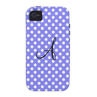 Light purple white polka dots monogram iPhone 4 covers