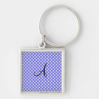 Light purple white polka dots monogram key chains