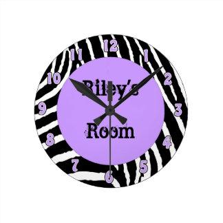 Light Purple Zebra Girls Room Wall Clock with name