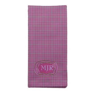 Light purples Scottish-style Tartan Plaid Monogram Cloth Napkins