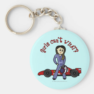 Light Race Car Driver Girl Basic Round Button Key Ring