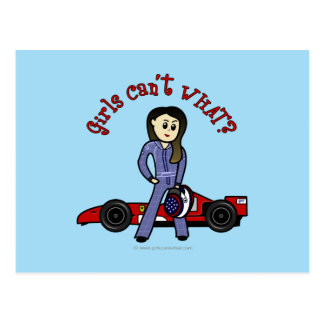 Light Race Car Driver Girl Postcard