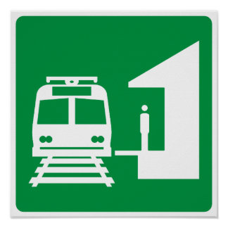Light Rail Station Highway Sign Poster