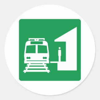 Light Rail Station Highway Sign Round Stickers