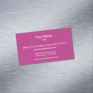 Light Raspberry Solid Color Magnetic Business Cards