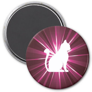 Light Rays Colorful With White Cat 7.5 Cm Round Magnet