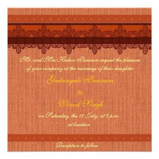 Light red brocade Hindu wedding Custom Invite