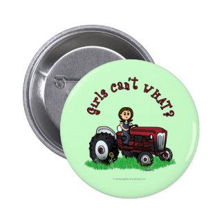 Light Red Farmer Girl 6 Cm Round Badge