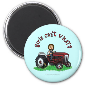 Light Red Farmer Girl 6 Cm Round Magnet
