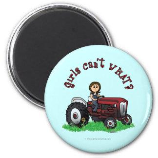 Light Red Farmer Girl 6 Cm Round Magnet