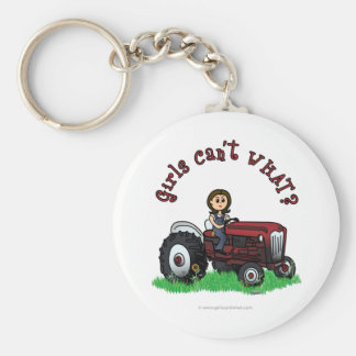 Light Red Farmer Girl Basic Round Button Key Ring