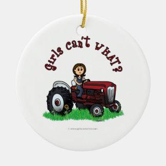 Light Red Farmer Girl Christmas Ornament