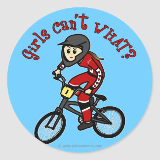 Light Red Girls BMX Classic Round Sticker