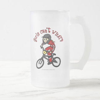 Light Red Girls BMX Frosted Glass Mug
