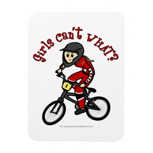Light Red Girls BMX Rectangular Magnets