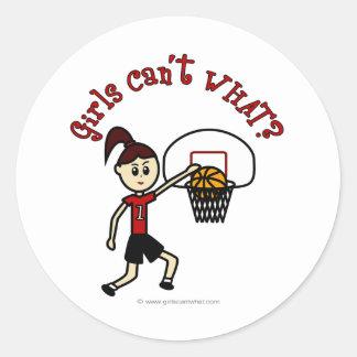 Light Red Womens Basketball Round Sticker
