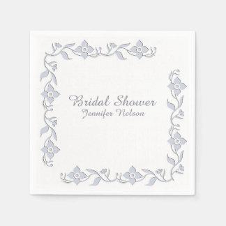 Light Regency Blue Floral Bridal Shower Napkins Paper Serviettes