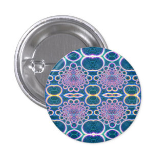 Light Rings Clear Blue Holographic Effect Art 3 Cm Round Badge