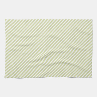 Light Sage Green Diagonal Stripes Tea Towel