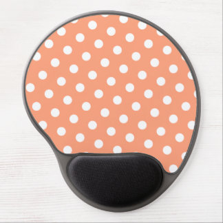Light Salmon and White Polka Dot Gel Mouse Mat