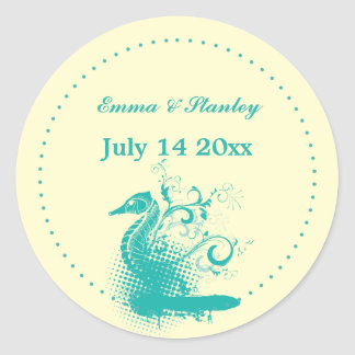 Light sea green seahorse wedding Save the Date Classic Round Sticker