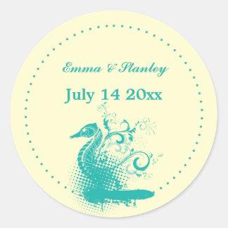 Light sea green seahorse wedding Save the Date Round Sticker