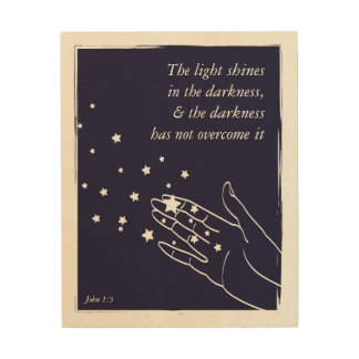 Light Shines in the Darkness (John 1:5) Wood Wall Art