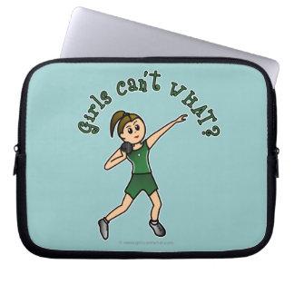 Light Shot Put Girl in Green Uniform Laptop Computer Sleeve