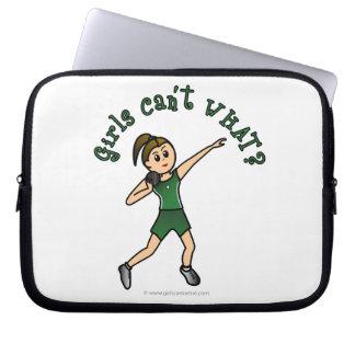 Light Shot Put Girl in Green Uniform Laptop Sleeve