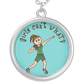 Light Shot Put Girl in Green Uniform Silver Plated Necklace