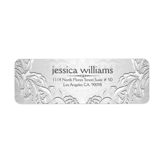 Light Silver Grey Floral Frame Return Address Label