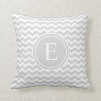 Light Silver Personalized Chevron Monogram Cushion