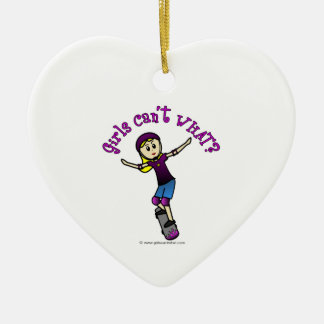 Light Skater with Helmet Ceramic Heart Decoration