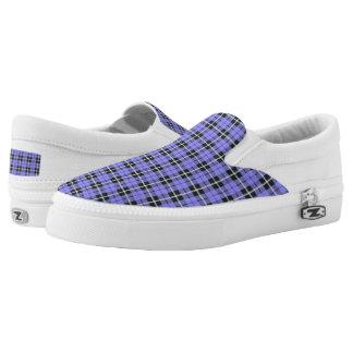 light sky baby blue plaid white/black stripe Slip-On shoes