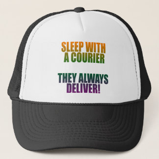Light sleep with a courier trucker hat