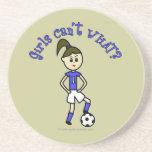 Light Soccer Girl in Blue Uniform Beverage Coasters