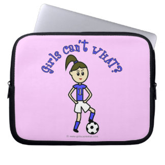 Light Soccer Girl in Blue Uniform Laptop Sleeve