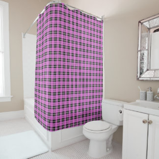 Light soft pink white/black stripe plaid shower curtain